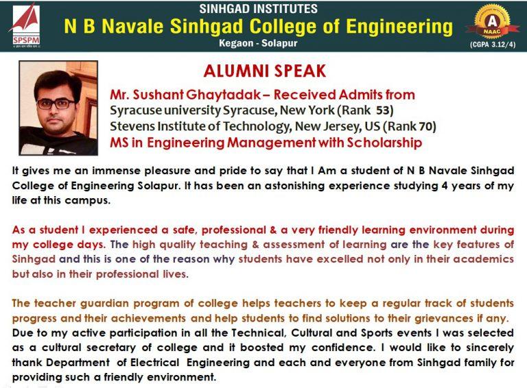 sushant alumni speak
